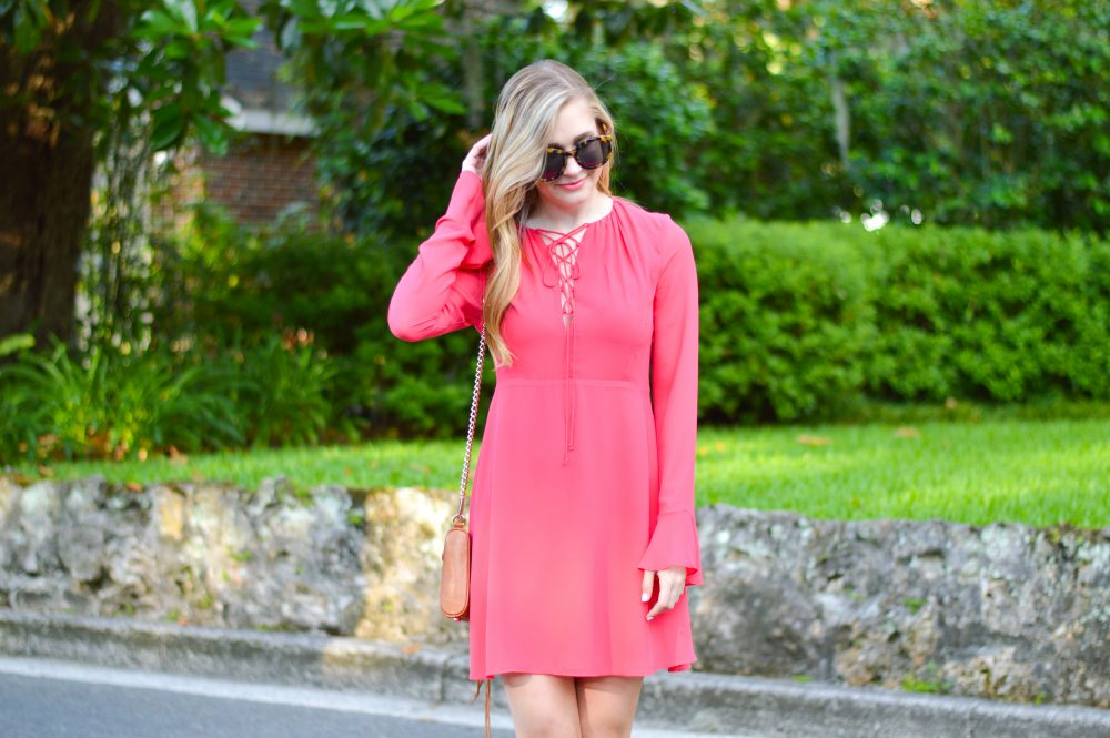 styelled blog, elle elisabeth, fashion blogger, style blogger, summer style, summer trends, sun dresses, wayf, dolce vita, coral, lace-up, bell sleeves, - 01