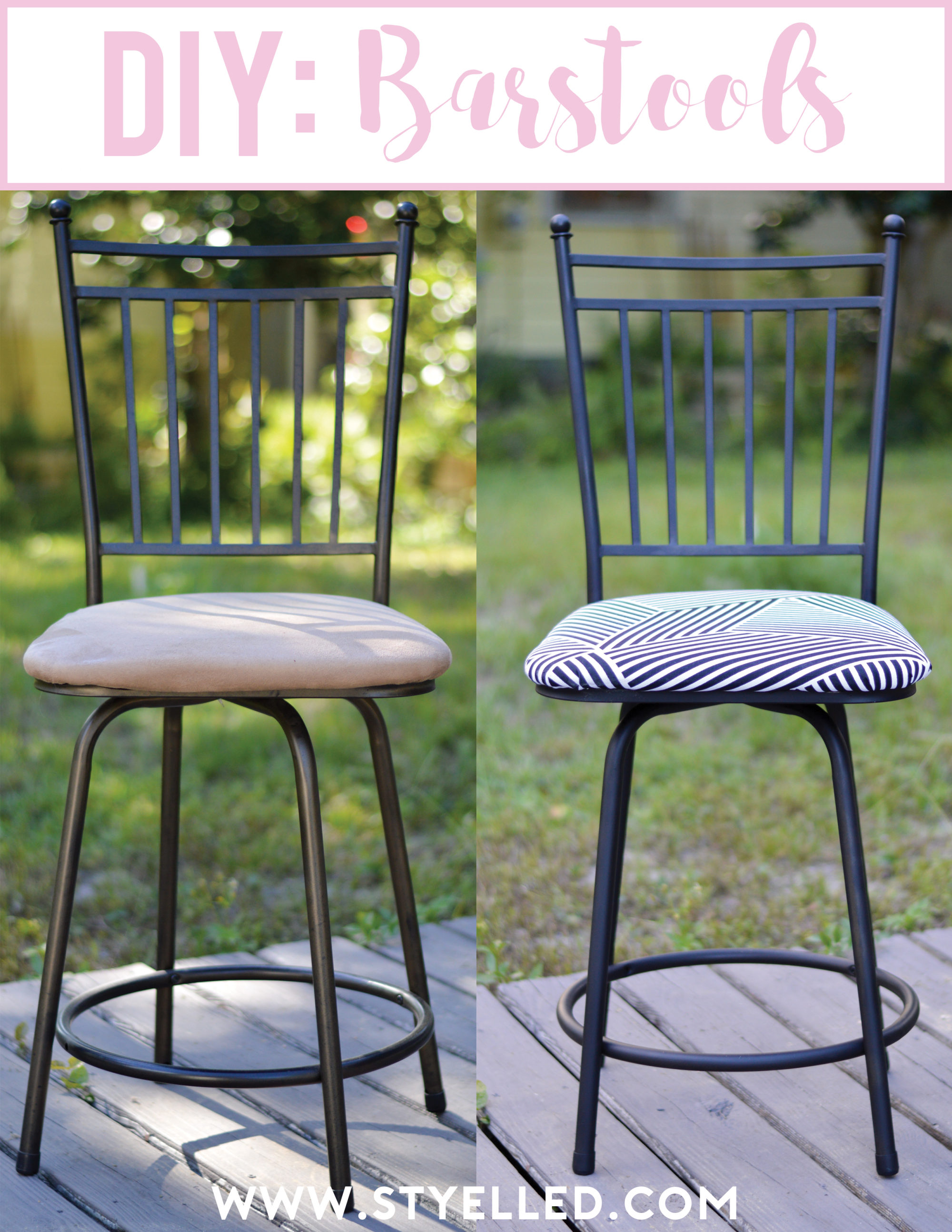 DIY: Turn your Barstools from Drab to Fab