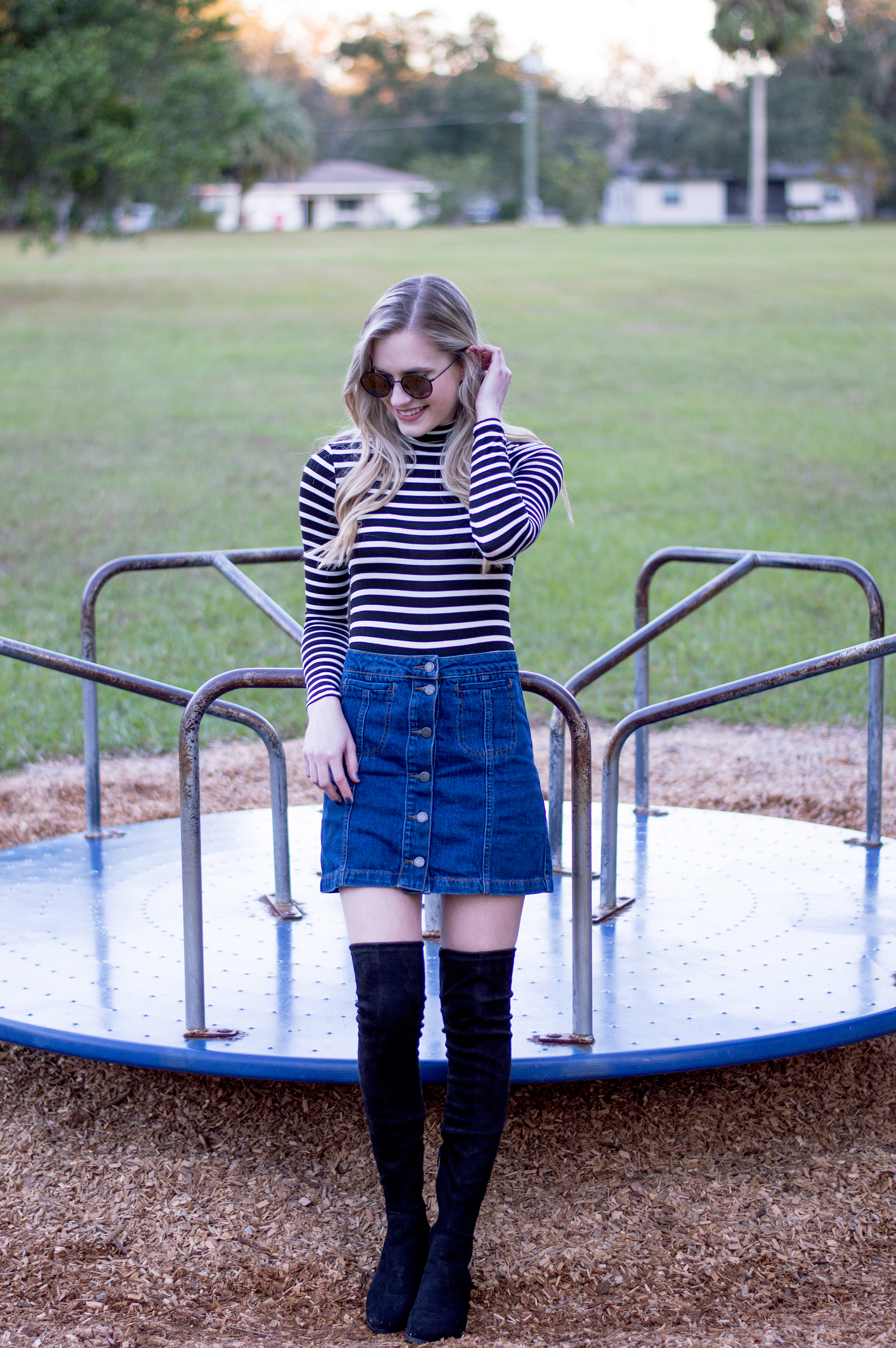 styelled_blog_fashion_lifestyle_beauty_style_blogger_topshop_forever_21_denim_skirt_striped_turtleneck_diff_eyewear_winter_style_fall_sweater_weather_over_the_knee_boots_01