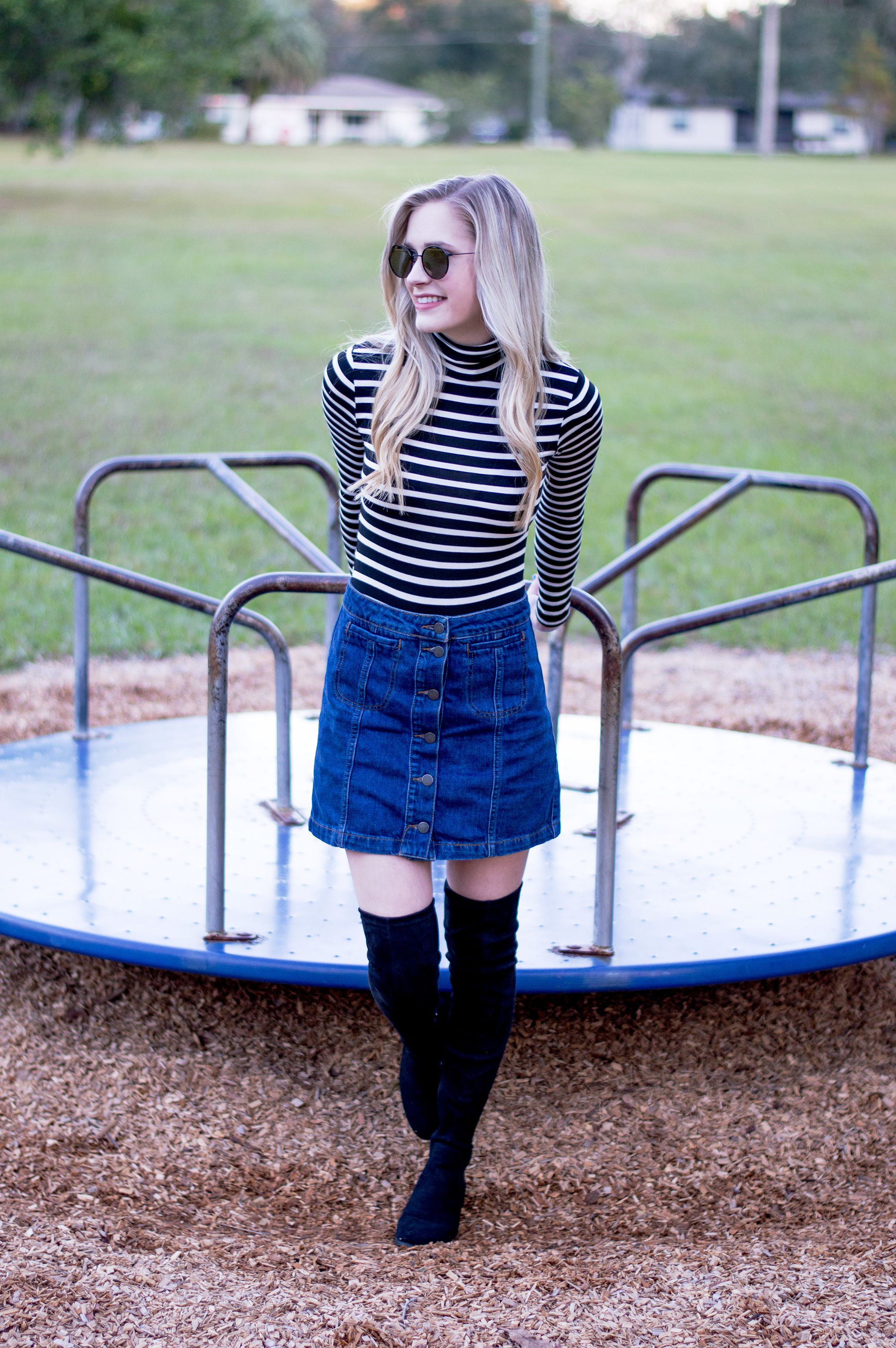 styelled_blog_fashion_lifestyle_beauty_style_blogger_topshop_forever_21_denim_skirt_striped_turtleneck_diff_eyewear_winter_style_fall_sweater_weather_over_the_knee_boots_02