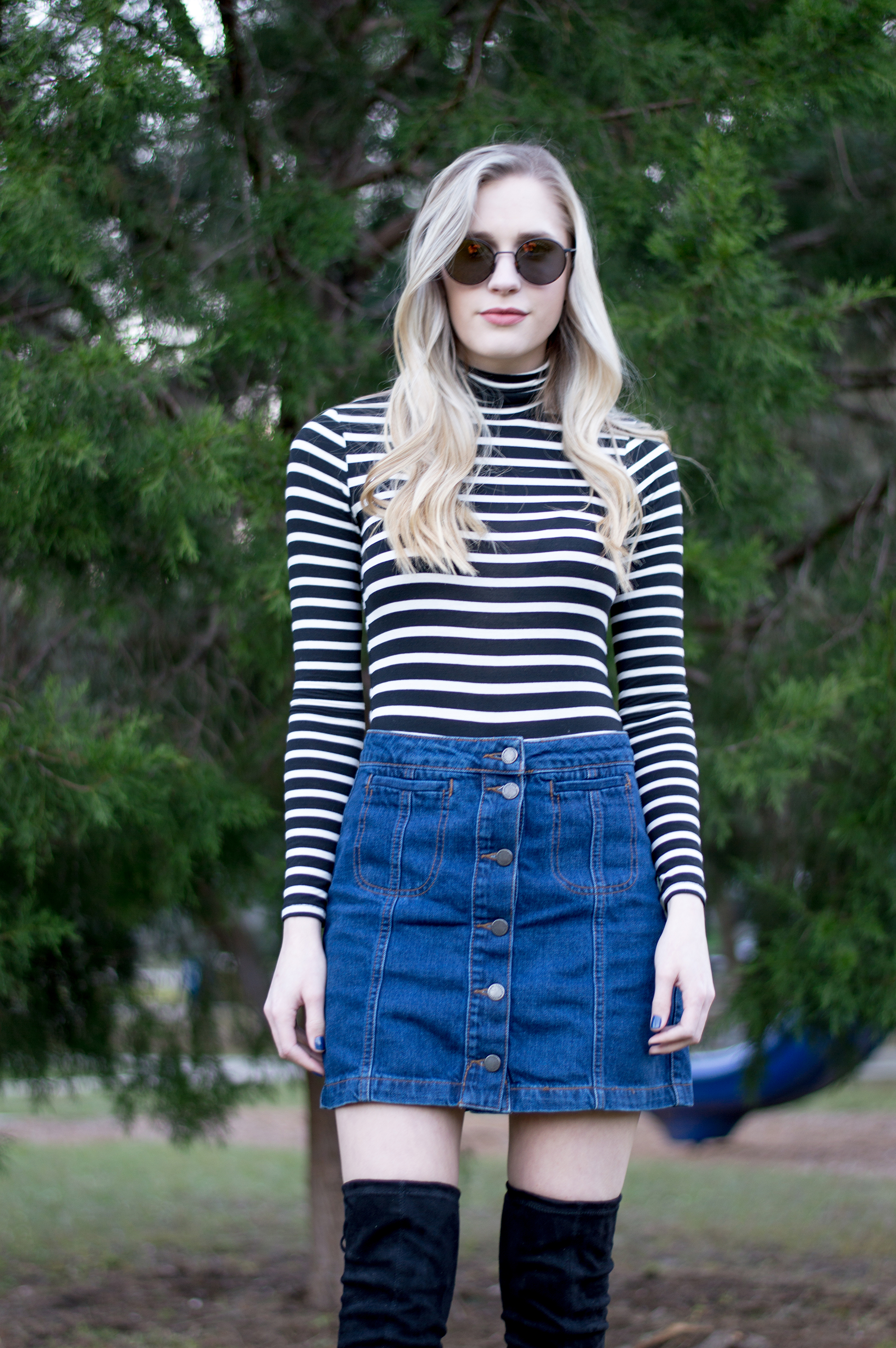 styelled_blog_fashion_lifestyle_beauty_style_blogger_topshop_forever_21_denim_skirt_striped_turtleneck_diff_eyewear_winter_style_fall_sweater_weather_over_the_knee_boots_07