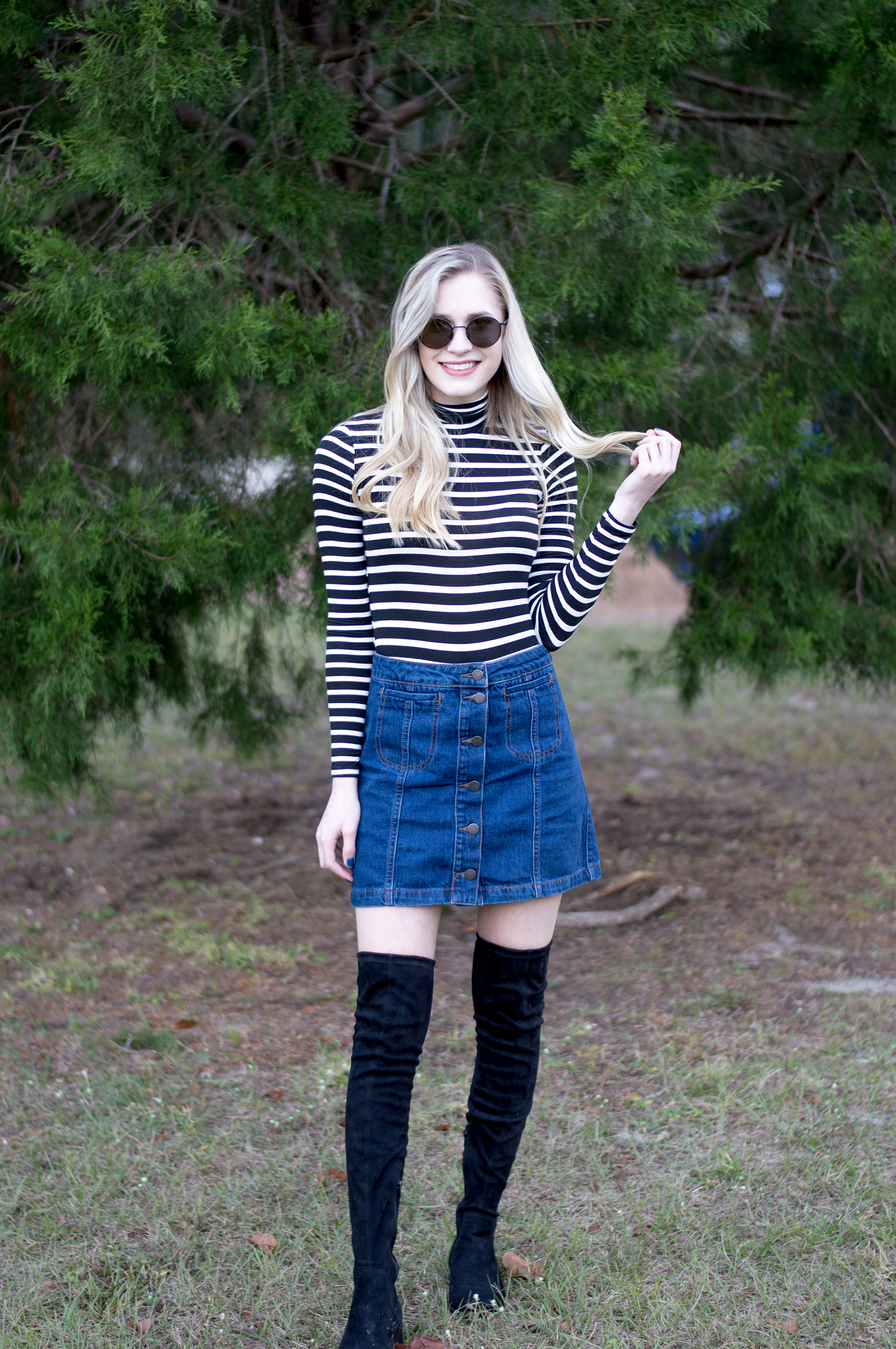 styelled_blog_fashion_lifestyle_beauty_style_blogger_topshop_forever_21_denim_skirt_striped_turtleneck_diff_eyewear_winter_style_fall_sweater_weather_over_the_knee_boots_09